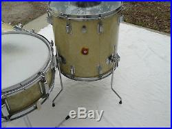 1960s Rogers White Pearl Drum Set With Snare