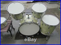 1965 VINTAGE Ludwig White Marine Pearl Drumset. #43