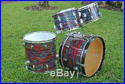 1968 Ludwig Drum Co. CLASSIC 22/12/13/16 DRUM SET in PSYCHEDELIC RED! LOT #E74