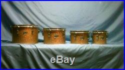 1970's Ludwig Champagne Sparkle Concert Tom Set 6 8 10 12 Blue Olive Rare