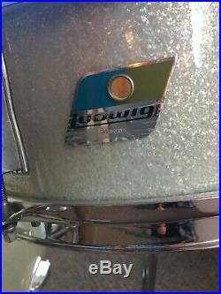 1970s Ludwig Blue & Olive Badge Drum Kit Set 22, 16, 14, 13 Silver Sparkle