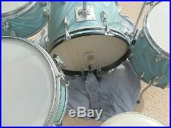 60's Slingerland Psychedelic Jazz Be-bop Drum Set Aqua Satin Flame20,14,12,5.514