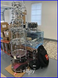 7-Piece DW-Drum Set Clear 8,10,12,16,18,22 14X 6 Snare $1759.00 (OBO)