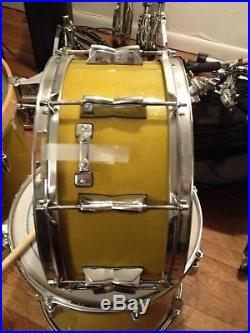 7 Piece Yamaha Beech Custom Drum Set Kit Yellow Pear Frank Katz of Brand X owned