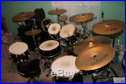7 pc DW Collector's Drum Set Black with Gold Hardware + 9 Cymbals + flight cases