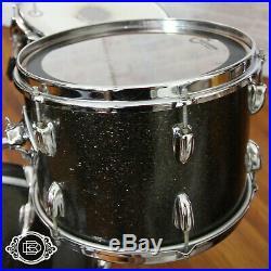70s Slingerland Krupa Deluxe Sparkling Black Pearl vintage drum set with snare