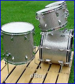 Beautiful late 1960s ROGERS 4 pc LONDONER Silver Glass Glitter drum set EXC