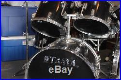 Black Drum Set Tama Zildjian Cymbals Swingstar 8 Piece Dbl Bass Hi Hat more