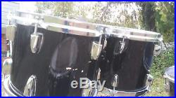 Black Lacquer Yamaha Tour Custom Maple Drum Set Kit 4 piece Kit Video Demo