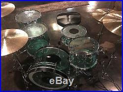 C&C Acrylic Drum Set 22/13/16/18/14 Coke Bottle Green withAwabi Stripes
