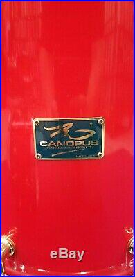 CANOPUS 3pc RFM Lacquer Candy Apple Crimson Maple 15/12/14 Custom Drum Set