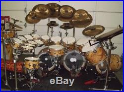 Collector's Series DW Olive Ash Burl withSatin Lugs Drum Set with Many Extras