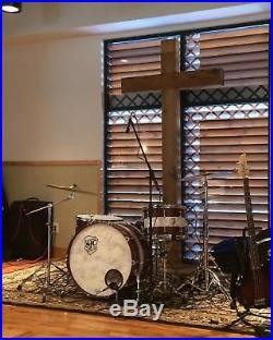 Custom SJC Drum Set All Maple Walnut Satin Stain with Aged White Pearl