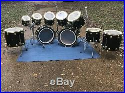 DW Collector's Series 10 Pc Drum Set Gloss Black Lacquer finish Gold Hardware