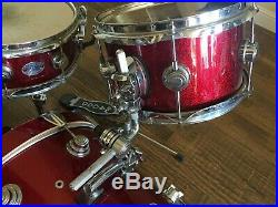 DW Mini Pro Red Sparkle Collectors Round Lug Drum Set Shell Pack