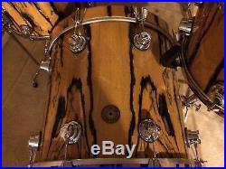 Dw Drum Set Jazz Series Exotic Ebony Maple Gum Shells 12 14 Toms 18 Bass Drum