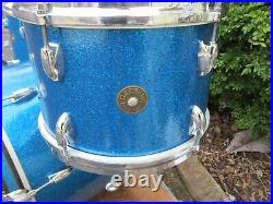 Gretsch Round badge Progressive Jazz drum set 12 14 20 Blue Glass Glitter 1966
