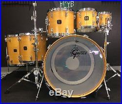 Gretsch USA Custom 6pc Natural Maple Drum Set! 24,18,15,13,10,8. Video