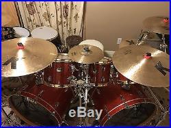 Ludwig Classic Maple 9pc Drum Set Orange Glass Glitter Inc Cymbals & Hardware