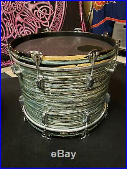 Ludwig Downbeat 1965 Blue Oyster Pearl drum set 12 14 20 vintage w cases