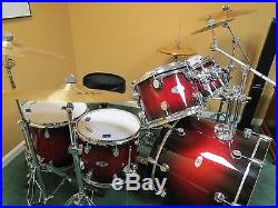 Pdp X7 Acoustic Drum Set Maple Red To Black Fade Used Drum Sets