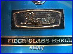 PEARL Metallic Blue Concert Style Vintage 70's FIBER GLASS DRUM SET Zildjian