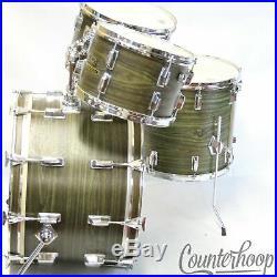 Pearl Avocado Wood-Fiberglass Drum Set 22,12,13,16 Japan Mahogany Vintage 70s