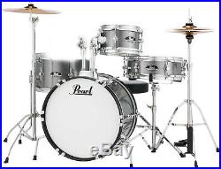 Pearl Roadshow Jr. 4-piece Drum Set Grindstone Sparkle with Cymbals -chipped tom