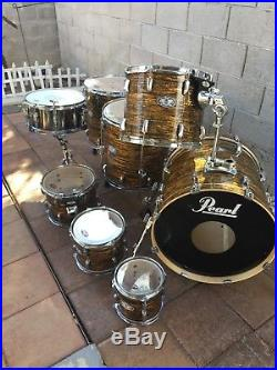 Pearl Strata Gold Drum Set 8,10,12,14,16,18 Toms 20 Bass Gretsch 16.5 Sig Snare