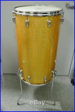 RARE 60s SLINGERLAND 14 GOLD SPARKLE COCKTAIL DRUM for YOUR DRUM SET! K41