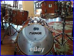 1d41d7e8f694 Rare 5 piece Sonor Designer maple lite drum set in exotic bubinga gloss  finish