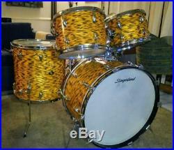 Rare Slingerland Vintage YELLOW TIGER PEARL Drum Set Zildjian cymbals 1969