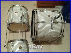 Rare Vintage Gretsch 60s Progressive Jazz Drumset 12/14/20 White Satin Original