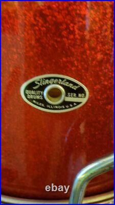 Slingerland 1970s red sparkle drum set 13 14 20