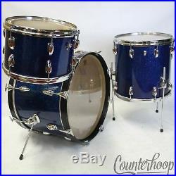 Slingerland 20,12,14 Modern Jazz Radio King Drum Set Blue Sparkle Vintage 60s