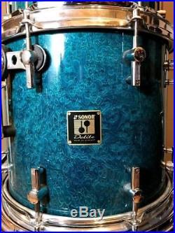 Sonor Delite Square Badge 5 Piece Drumset Birdseye Azure NEAR MINT