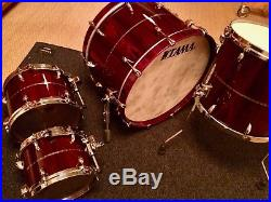 TAMA STAR Drumset Bubinga 4 Piece with CASES Dark Red 22/16/12/10 Shell Pack