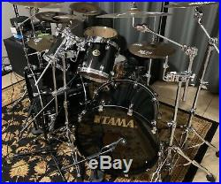 Tama Starclassic Maple Japan 8 piece Double Bass Drum Set Piano Black Lacquer Ex
