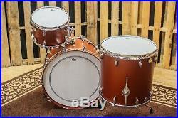 Used Gretsch Broadkaster Satin Copper Mist Vintage Build Drum Set 22, 12, 16