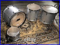 Used Ludwig Classic Maple Silver Sparkle 4pc Drum Set