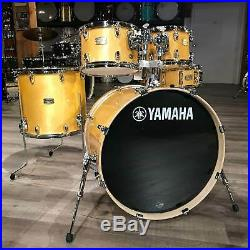Used Yamaha Stage Custom 5pc Drum Set Natural Wood