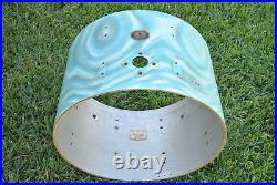 VINTAGE GRETSCH 22 AQUA SATIN FLAME BASS SHELL + BADGE for YOUR DRUM SET! #D88