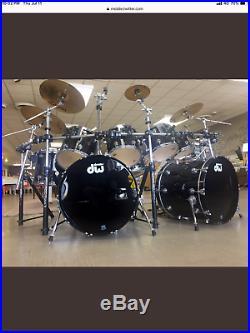 Very Rare Dw Collectors Maple Double Bass Drum Set Black 8 Piece