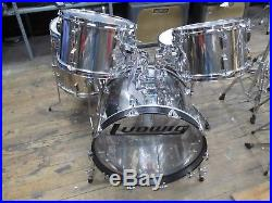 Vintage 1970's Ludwig 5 Piece Stainless Steel Drum Set