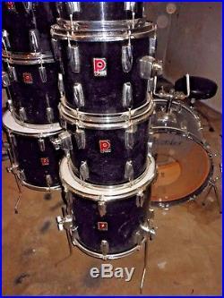 vintage 1970 s premier drum set black 9 piece maple double bass drum 2 24 kick used drum sets. Black Bedroom Furniture Sets. Home Design Ideas