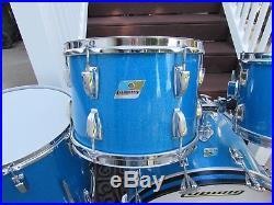 Vintage 1971 Ludwig Blue Sparkle Hollywood Drumset