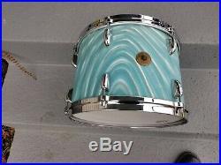 Vintage 60's Gretsch RB 3pc Aqua Satin Flame Drum Set