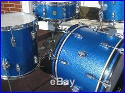 Vintage 60's Ludwig 4pc. Blue Sparkle Drum Set! 20-14-12, 14 wood snare