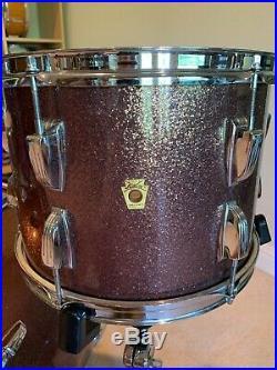 Vintage 60s Burgundy Sparkle Ludwig 3 Piece Drum Set 22 13 16 Keystone Badge