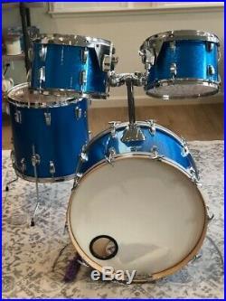 Vintage 70's Ludwig 4pc. Blue Sparkle Drum Set